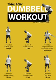 Workout Exercise total-body-dumbbell-workout - Workout Instructions Perform these six exercises in order, starting from top left and moving clockwise. Bodybuilding Training, Bodybuilding Workouts, Ab Workout At Home, Gym Workouts, At Home Workouts, Total Body, Sport Cardio, Full Body Dumbbell Workout, Workout Body