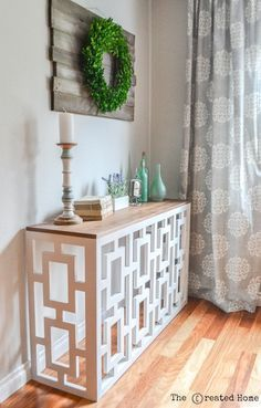 How to build a beautiful and functional DIY fretwork console table featuring a stunning fretwork design. Project plans by Jen Woodhouse. * Visit the image link for more details. #DIYHomeDecor