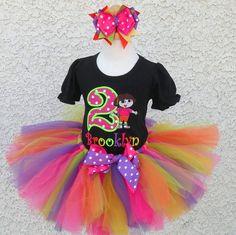 Black Bright Dora The Explorer Girls Birthday Tutu Outfit