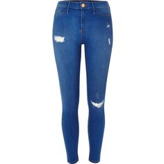 River Island Bright blue ripped Molly jeggings ($84) ❤ liked on Polyvore featuring pants, leggings, jeans, ripped leggings, stretch leggings, ripped jeggings, blue leggings and denim leggings
