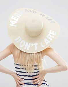 ASOS - Mermaid - Chapeau mou oversize en paille avec slogan métallisé