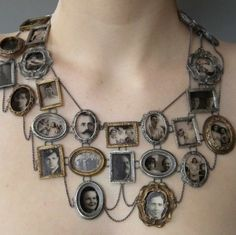 Genealogical tree necklace. Bit heavy to wear, but a good idea to display somehow