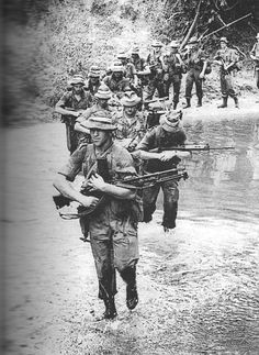 Australians on the march in Vietnam.