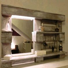 Use reclaimed wood pallets to make practical bathroom storage shelves