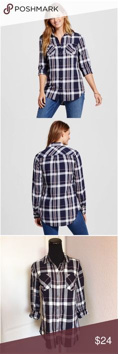"""Summer Navy/White/Pink Plaid Tunic Shirt Top Small Summer collared """"Xavier"""" Tunic in Navy Plaid by Merona. Size small. Color scheme: navy blue, white and pink. No flaws. New without tags. I washed this blouse in cold water and hung it to dry, as I usually do before I wear something. I just have too many. 🙈Button front & cuffs. Slightly lower shirttail hem in the back. Sleeves can be worn long or rolled up. 100% rayon. Approx 18"""" across the bust & 30"""" long down the back. Smoke-free home. No…"""