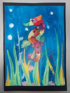 Once upon an Art Room: Rainbow Seahorses - inspired by Eric Carle