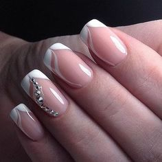 french nails art Of July Easy Nails, Simple Nails, Cute Nails, Pretty Nails, Fabulous Nails, Gorgeous Nails, Bridal Nails, Wedding Nails, French Nails