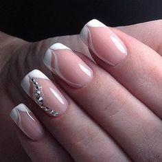 french nails art Of July Easy Nails, Cute Nails, Pretty Nails, Bride Nails, Wedding Nails, Fabulous Nails, Gorgeous Nails, French Nails, French Manicures
