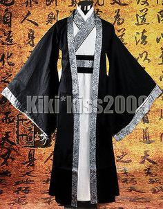 f1eac5b736 China HanFu Kimono Men s Festival Black Sliver Robe CustomMade