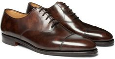 $1,340, Dark Brown Leather Oxford Shoes: John Lobb City Ii Leather Oxford Shoes. Sold by MR PORTER. Click for more info: https://lookastic.com/men/shop_items/25112/redirect