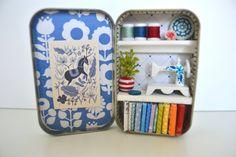 Tiny Tin Sewing Room  Blue Room by TeaRoseCompany on Etsy