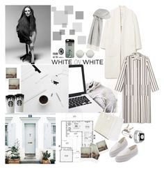"""""""WHITE oN white"""" by mariettamyan ❤ liked on Polyvore featuring JULIANNE, Privé, Band of Outsiders, Casetify, Polaroid, MANGO, Monki, Linda Farrow, Agnona and Georg Jensen"""