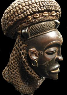 Africa   Pwo Mask from the Chokwe (Tchokwe) people of Angola/Congo   1850 - 1930   Wood fiber, shells and metal