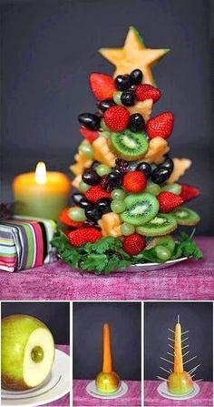 FOOD FANTASY....CHRISTMAS!!! Fruit Christmas Tree