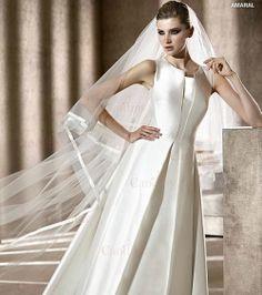 2012 decent high neckline sleeveless A-line satin train wedding dresses uk