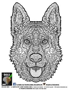 german shephard adult coloring page complicated coloring detailed coloring books for grown ups and