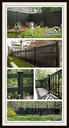"As Henry Ford would say ""you can have any color you want as long as it's black."" Not necessarily true for Grand Illusions Vinyl Fence where you can choose between 35 colors and 5 wood grains of PVC vinyl fence. Either way, here are some great images of black vinyl fence from Illusions Fence's Grand Illusions Color Spectrum. One of the best fence ideas out there. #illusionsfence"