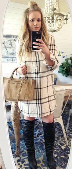 White And Gray Plaid Long-Sleeved Shirt Dress + Pair Of Black Knee High Boots + Brown Handbag. Cute Winter Outfits, Fall Outfits, Black Knees, Distressed Skinny Jeans, Knee High Boots, Long Sleeve Shirts, Autumn Fashion, Shirt Dress, Plaid