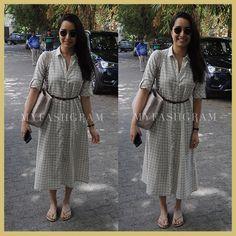 Shraddha Kapoor in white checked shirtdress, MyFashgram