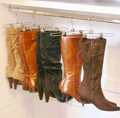 Pant hangers with sliding clips boots storage ideas