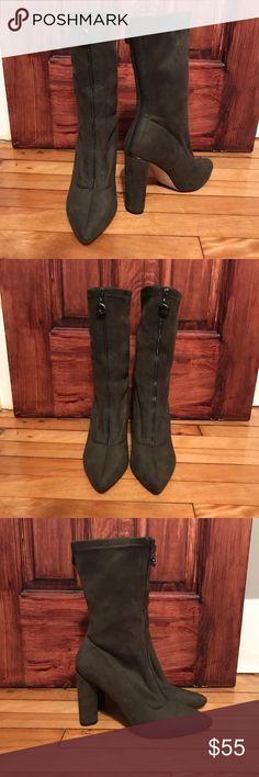 Olive Zip Booties Never worn! Public Desire Shoes Ankle Boots & Booties