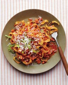Chicken Bolognese With Tagliatelle / / / We made this recipe last night and used fettuccine in lieu of tagliatelle. We used the food processor for the onion, celery, and carrots. Pretty easy recipe and tasty!