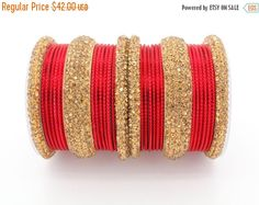 Stunning Heavy Diamante Crystal Red & Antique Gold Bangle Set Sizes: cm (Medium) OR 7 cm (Large) Can be worn on 2 arms or 1 depending on preference. Bridal Bangles, Bridal Jewelry Sets, Wedding Jewelry, Bangle Set, Bangle Bracelets, Thread Bangles, Bollywood Jewelry, Indian Jewelry, Indian Bangles