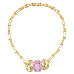 Gold, Kunzite and Diamond Ribbon Necklace, by Angela Cummings   Centering one cut-cornered emerald-cut kunzite approximately 65.00 cts., flanked by flared ribbons set with 82 round diamonds approximately 2.00 cts., completed by matte gold stylized ribbons, edged in polished gold, unsigned, signature removed when shortened, approximately 62 dwt