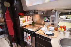 Inside an Airstream Travel Trailer, Airstream Travel Trailer Modern Interiors, Decorating a Trailer, Decorating an Airstream Travel Trailer, RV Kitchen, RV Decorating, Airstream Travel Trailer Kitchen, RV Cooking, Airstream Cooking, Airstream Cuisine