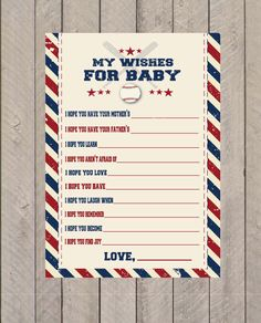 Baseball Baby Shower Wishes PDF Instant Download- Baby Shower Games by EllaJaneCrafts on Etsy https://www.etsy.com/listing/206854428/baseball-baby-shower-wishes-pdf-instant