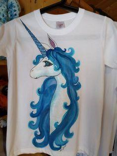 5ce663d80 Hand-painted cotton t-shirt, blue unicorn, summer t-shirt, painted t-shirt, girl's  t-shirt, short sleeve shirt, glitter, horse. Summer Tshirts ...