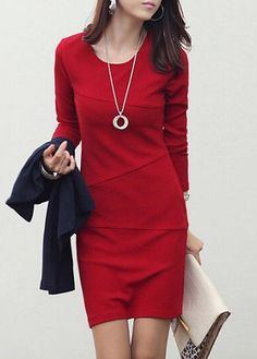 Long Sleeve Round Neck Fleece Lined Red Dress on sale only US$26.85 now, buy cheap Long Sleeve Round Neck Fleece Lined Red Dress at lulugal.com