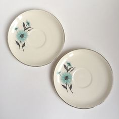 2 vintage turquoise flower saucers, silver rimmed by PowersMod on Etsy