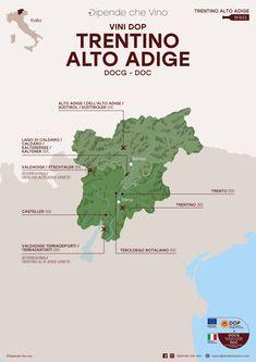 Tutti i vini DOP (DOCG e DOC) del Trentino Alto Adige, localizzati sulla carta regionale.    Al link le informazioni sulle tipologie e sugli uvaggi.    Italian Wine Region, Trentino Alto Adige Wine Pics, Wine Folly, Wine Tourism, Wine Guide, Sweet Wine, Wine Drinks, Beverages, Italian Wine, Sparkling Wine
