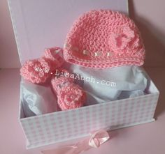 Newborn Hat and Booties Free Crochet Pattern