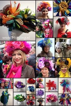 Hats and corsages for Carneval Karneval Carnaval Vastelaovend made by BTstyling http://www.btstyling.nl