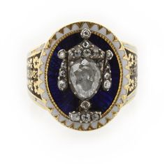 A gold, enamel and diamond mourning ring with a funerary-urn motif, inscribed; 'R.T.Hon:Lady Lucy Meyrick.Died 24 Jan 1802 Aged 83'.