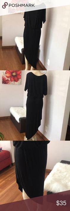 Chelsea Sky asymmetrical blouson Dress- Black / L Chelsea Sky asymmetrical blouson Dress- Black / L.                   96% Rayon  4 % Spandex Chelsea Sky Dresses Asymmetrical
