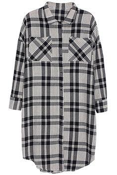 ROMWE | Extra-long Gray Plaid Shirt, The Latest Street Fashion