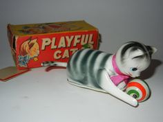Wind Up Vintage Playful Cat with Ball Toy Alps by RetroPickins, $24.95