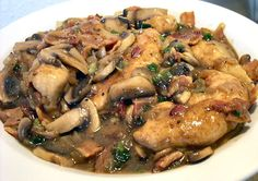 Emeril's one-pot chicken: Chicken, bacon and mushrooms, oh my! This comforting one-pot meal is perfect for chilly nights.| #Fall #Recipes