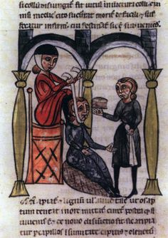 Medieval illustration; Treating a dislocated neck.