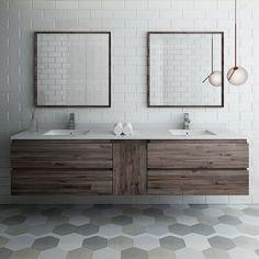 Fresca Formosa 48 Wall-Mounted Double Bathroom Vanity Set with Mirror Fresca Double Sink Bathroom, Single Bathroom Vanity, Small Bathroom, Master Bathroom, Bathroom Ideas, Bathroom Organization, Single Vanities, Guest Bathrooms, Dream Bathrooms