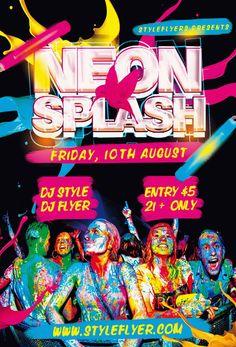 Neon Splash PSD Flyer Template