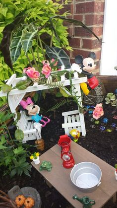 Mickey and Minnie mouse fairy garden