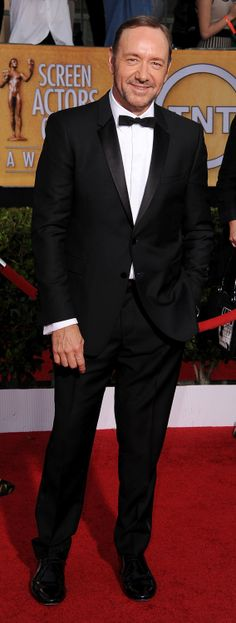 SAG Award nominated actor Kevin Spacey wearing a black Burberry tuxedo at the Screen Actors Guild Awards in Los Angeles