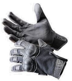 Awesome punching power!     The 5.11 Tactical Hard Knuckle Gloves, a combination of leather, Kevlar and very strong polymer. It's one of my favorite weapons.