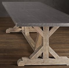 Restoration Hardware Railroad Tie Rectangular Dining Table - Zinc top with timber base Wood Patio, Patio Dining, Patio Table, Dining Tables, Dining Room, Wood Tables, Dining Furniture, Home Furniture, Coastal Furniture