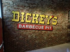 A wall mural for Dickey's Barbeque. Their baked potato casserole and onion tangles are food for the gods.
