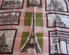 French Parisian Scarf, famous places of Paris; Eiffel Tower, Moulin Rouge, Notre Dame. Green pink & brown. Original gift for France lover @PumpjackPiddlewick on Etsy